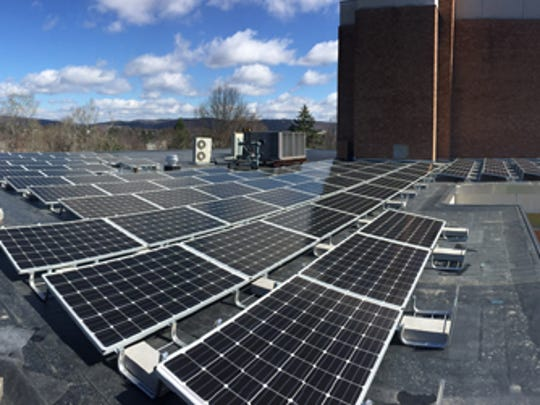 Solar panels atop the Four County Library at 304 Clubhouse