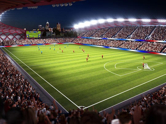 Rendering of stadium proposed by the Indy Eleven back