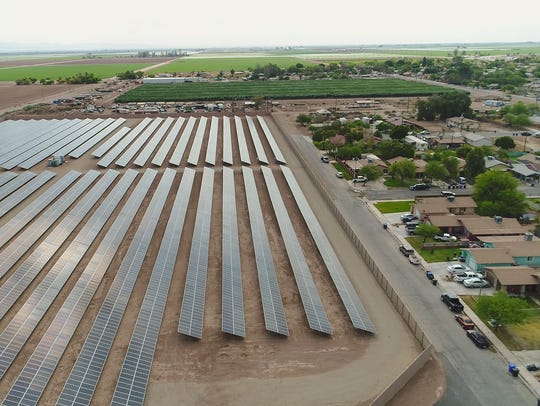 The Valencia 1 solar project, seen from a drone, borders