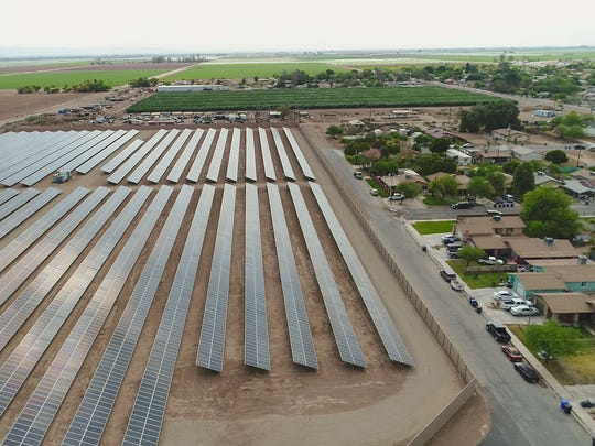 The Valencia 1 solar project, seen from a drone, borders the city of Westmorland, California. Valencia 1 was developed by ZGlobal.