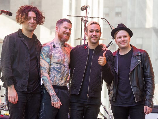 "FILE - In this June 12, 2015 file photo, Fall Out Boy members Joe Trohman, from left, Andy Hurley, Pete Wentz and Patrick Stump appear on NBC's ""Today"" show in New York."