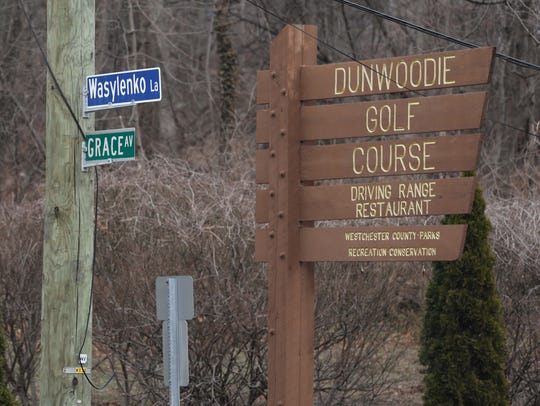 The sign for the Dunwoodie Golf Course in Yonkers,