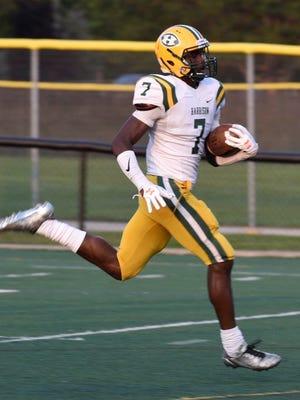 Senior Ovie Oghoufo (7) helped lead Farmington Harrison to the Division 3 state title game and was one of nine Hawks named to the All-OAA all-star squad.