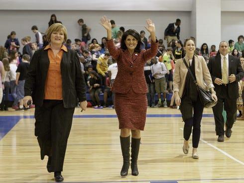South Carolina Gov. Nikki Haley greets students at Leslie Stover Middle School in Elgin, S.C. on Friday.