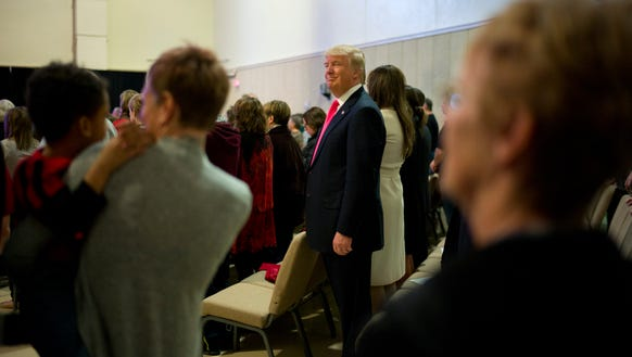 Donald Trump attends a Sunday service at First Christian