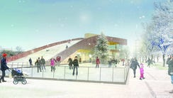Rendering of skating rink planned for Titletown District.