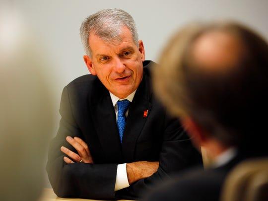 Wells Fargo President Tim Sloan speaks to the Des Moines