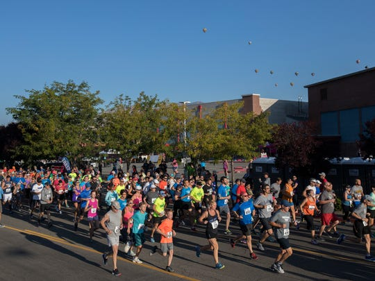 Runners start the 49th Annual Journal Jog in Reno on Sunday.