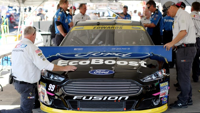 Carl Edwards' car goes through inspection before the October 2014 race at Martinsville Speedway.