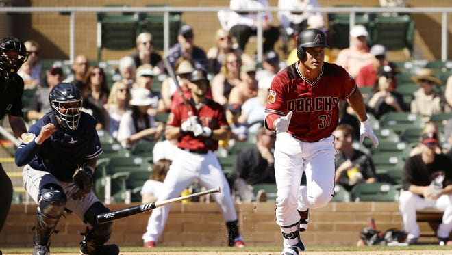Arizona Diamondbacks Oswaldo Arcia hits a double against the San Diego Padres in the 2nd inning during spring training action on March 2, 2017 at Salt River Fields in Scottsdale, Ariz.