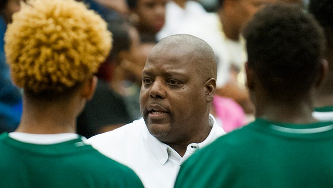 Carver coach James Jackson coaches against Daphne in subregional action at Carver High School in Montgomery, Ala. on Tuesday February 16, 2016.