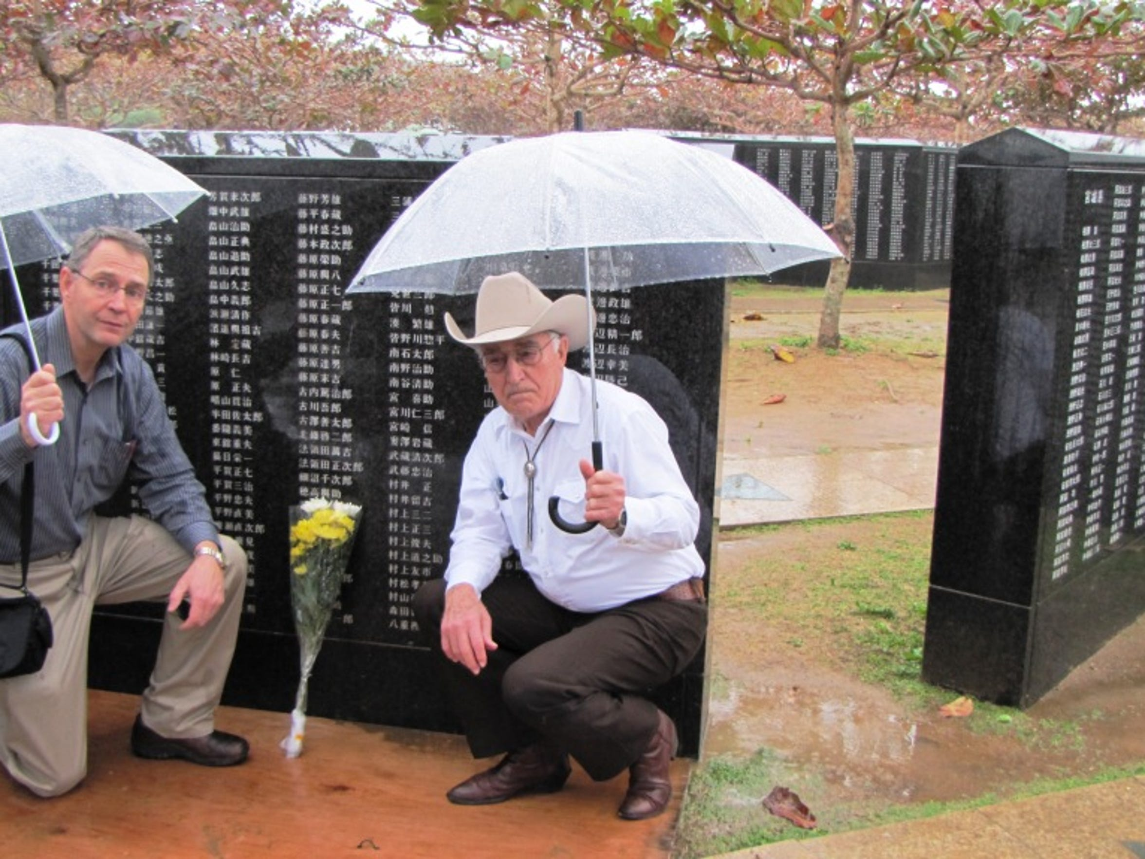 Durl Gibbs and his son Wes following a brief memorial