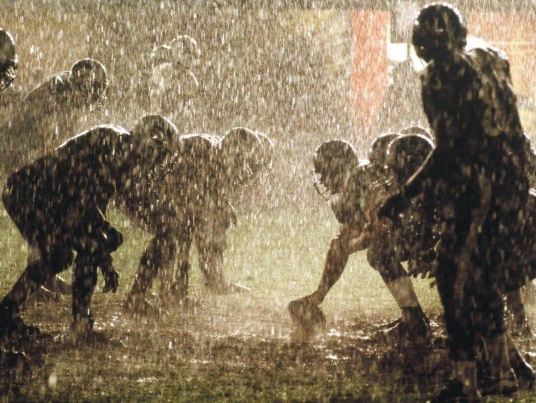 Rainy football.