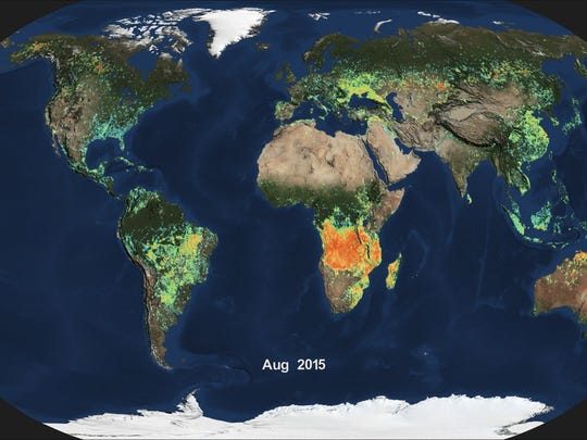 Shown here is the monthly average of global burned area for August 2015, produced from data from the Moderate Resolution Imaging Spectroradiometer (MODIS) aboard NASA's Aqua satellite. Light blue indicates a small percentage of burned area, while red and orange indicate high percentages of burned area.