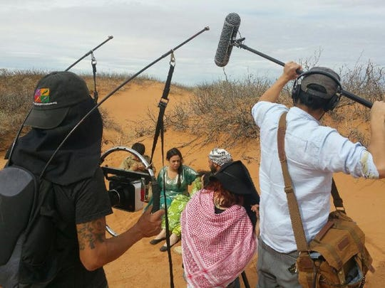 "A production team from El Paso shoots a scene in the desert of Alamogordo for the film, ""The Last Hope."""
