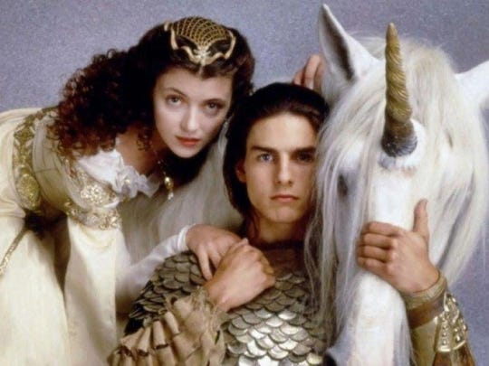 "A unicorn horns in as Mia Sara and Tom Cruise strike a pose in this publicity still for ""Legend,"" which screens in  May during the ""Time Warp Drive-In."""