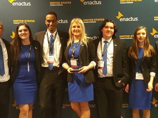 RVCC Enactus team members, from left, Elijah Shabazz, Madeleine Nasta, Victor David Gibbs, Kristine Bulava, Johny Zenone, Samantha Fegely, and Nicholas Larosa, celebrate after being named Regional Champion at the Enactus Regional Competition, held March 31 in Washington, DC.