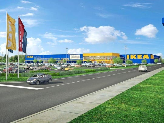 Renderings and site plans for proposed Ikea location