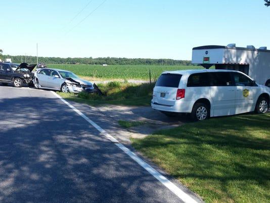 Three vehicle crash