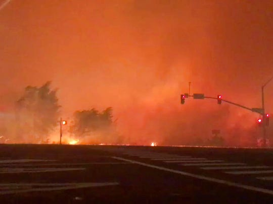In this image from video released by Chase Bonefant @ChaseBonenfant, shows the Lilac fire burning in Bonsall, Calif.