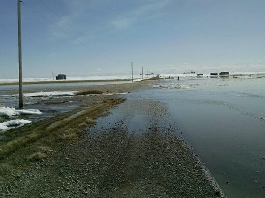 Flooding on Berland Loop in Pondera County is occurring