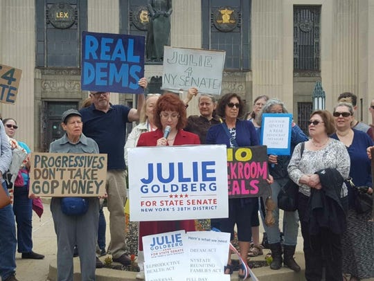 Julie Goldberg, a librarian and former English teacher from Chestnut Ridge announces her candidacy for the state Senate from Rockland on May 30, 2018, at the Rockland Courthouse in New City.