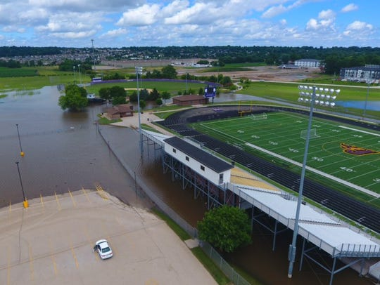 Flooding near Johnston Stadium.