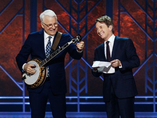 Steve Martin and Martin Short trade friendly barbs and sing some tunes in this file photo.