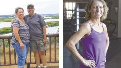 Maria Raysby before her weight loss (left) with husband Doug in July 2012, and recently at the Raven Industries fitness center (right).