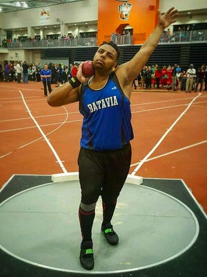 Batavia junior Anthony Ray competes in the shot put and weight throw during the indoor season.