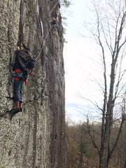Climbers ascend the only multi-pitch routes in Michigan