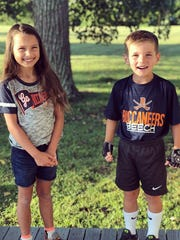 Camilla and Callum Knox get ready for third and first grade, respectively, at Beech Elementary.