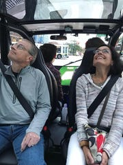 Bedrock employees take a ride on May Mobility's self-driving