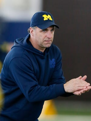 Michigan secondary coach Mike Zordich during football practice on March 19, 2015 in Ann Arbor.
