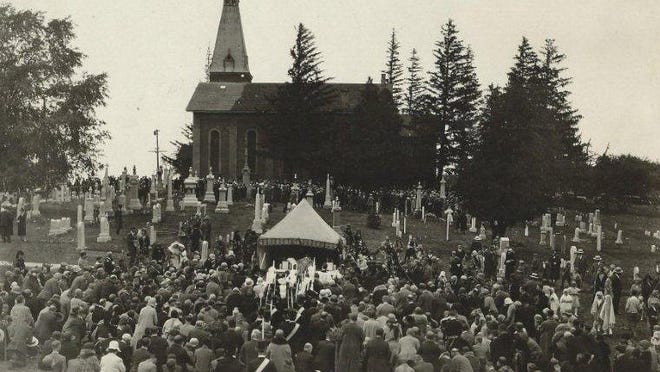 Crowds turned out for Mother of Sorrows' centennial celebration in 1930.