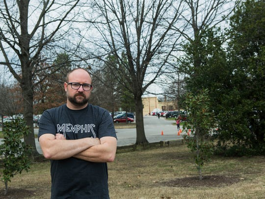 Activist Hunter Demster poses for a portrait at Overton Park, with the Memphis Zoo in the background on Feb. 27, 2018.