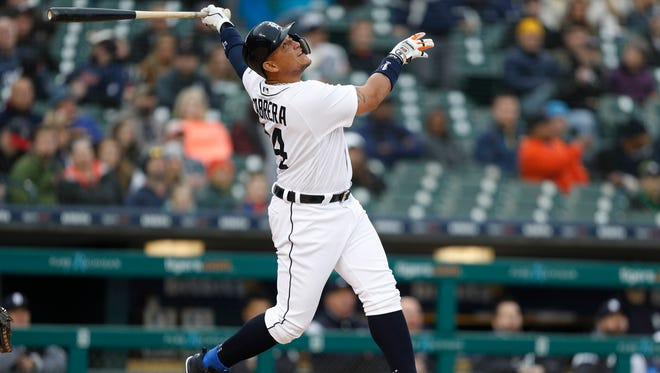Tigers first baseman Miguel Cabrera pops out during the first inning against the Yankees at Comerica Park on Friday.