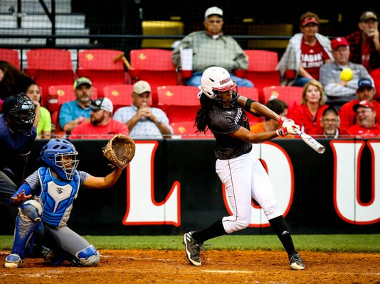 in the softball game between ULL and Texas A M Corpus Christi at Lamson Park in.