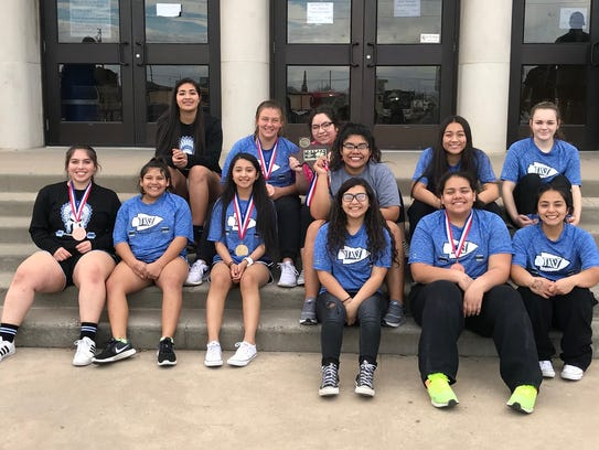 The Lake View High School girls powerlifting team after