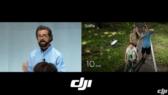A split-screen from the DJI demo shows a family using