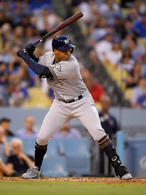 Jonathan Schoop's three hits as a Brewer are all singles, he has no RBI and he has struck out 11 times.
