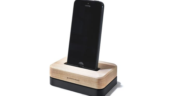 The three-pound solid steel Grove Dock for iPhone offers one-handed use and works with or without a case. (Grove/MCT)
