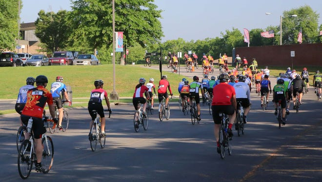 Bikers start the Metric Century Ride, 63 miles from start to finish, at Volunteer State Community College.