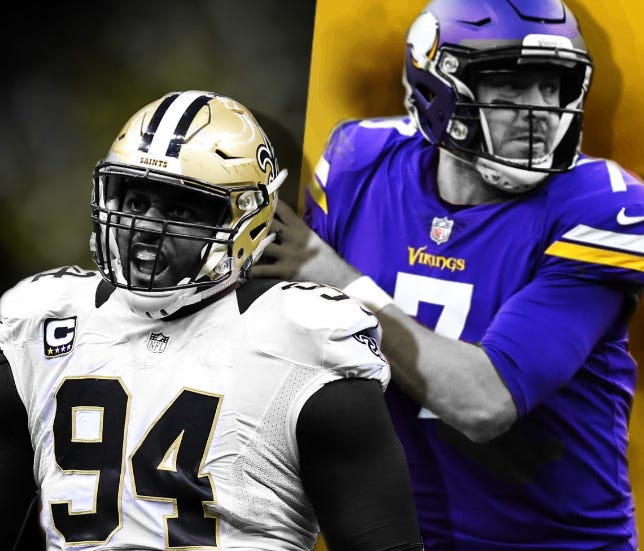 Saints DE Cam Jordan (94) will be in pursuit of Vikings QB Case Keenum on Sunday afternoon.