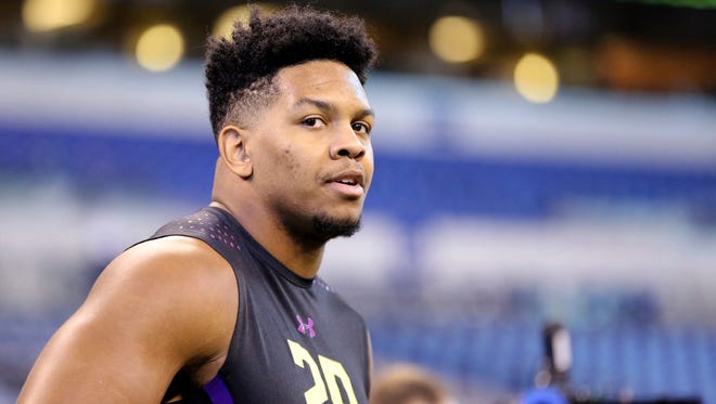 UTSA defensive lineman Marcus Davenport watches at the 2018 NFL combine on March 4, 2018, in Indianapolis.