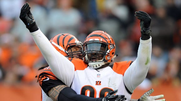 Bengals defensive tackle Brandon Thompson celebrates his sack of Browns quarterback Johnny Manziel (not pictured) during the third quarter at FirstEnergy Stadium.