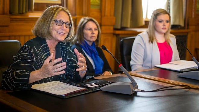 Mary Andringa, left, who was appointed to the nine-member Iowa Board of Regents last year, will resign effective April 30, according to the release.