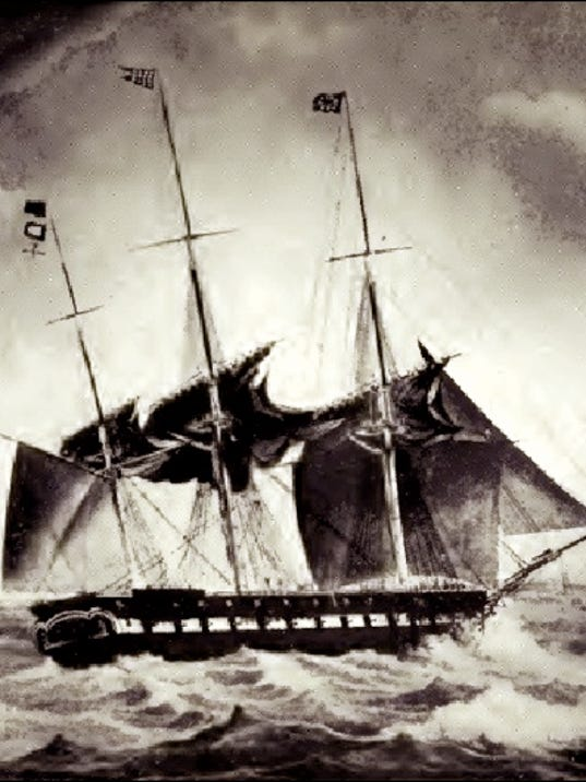 """Illustration of the U.S.S. Brandywine off Malta on November 6, 1831 (From opposite page 26 of the book """"Old Naval Days"""" by Sophie Radford de Meissner; a Public Domain Image in Wikipedia)"""