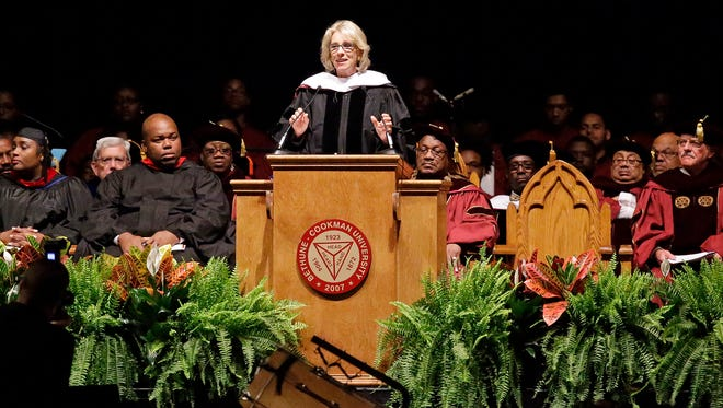 Education Secretary Betsy DeVos delivers a commencement address to graduates at Bethune-Cookman University on  Wednesday, May 10, 2017, in Daytona Beach, Fla.