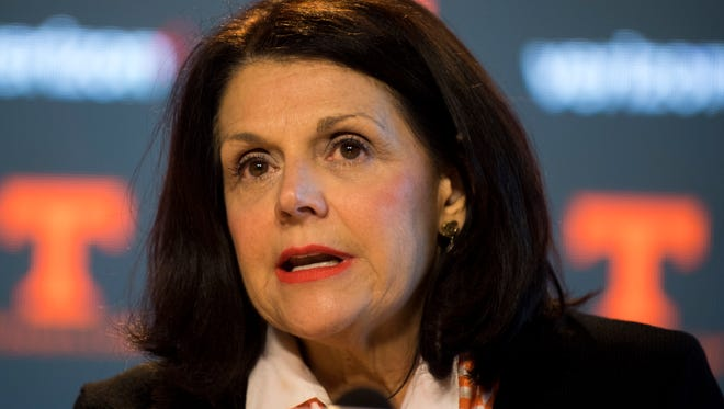 University of Tennessee Chancellor Beverly Davenport speaks at press conference on Friday, Dec. 1, 2017.